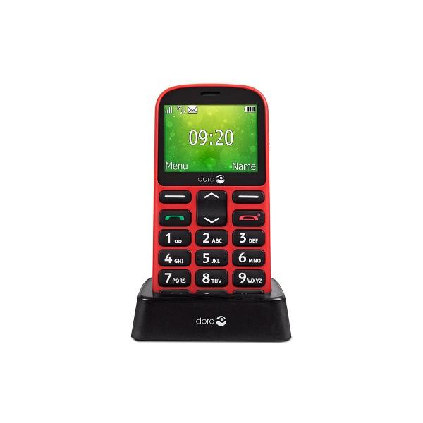 Doro 1361 rojo móvil senior dual sim 2.4'' cámara 2mp bluetooth radio fm micro sd incluye base de carga