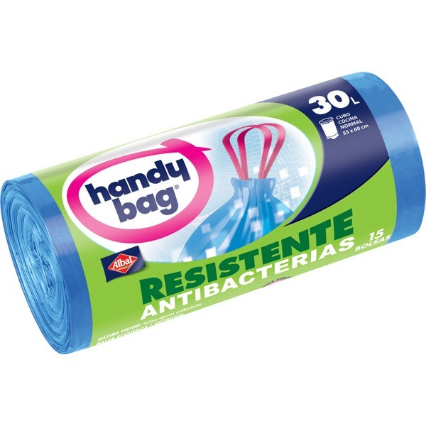 Handy bag bolsas basura Antigoteo rollo  30l . 15 bolsas