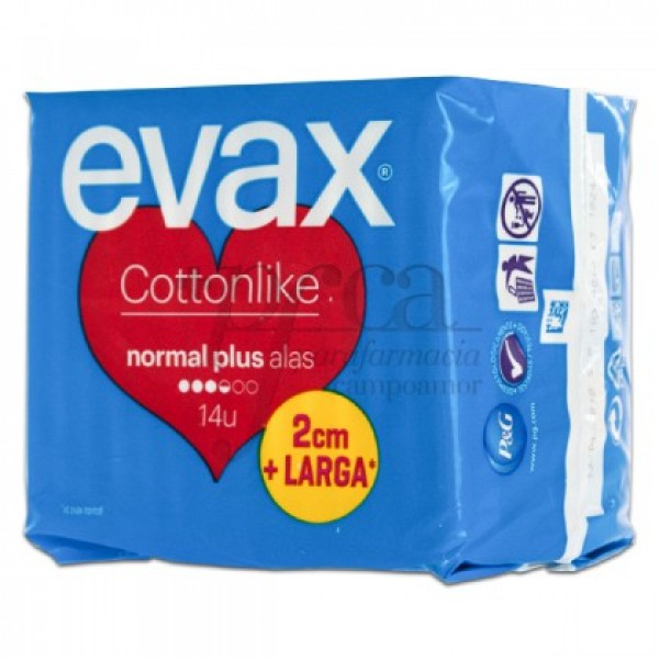 EVAX COTTONLIKE NORMAL PLUS ALAS 14 COMPRESAS
