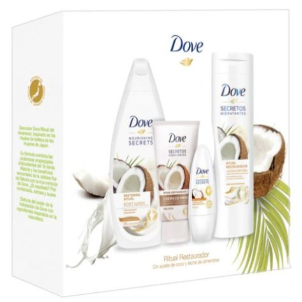 Dove set Ritual Restaurador Gel de Ducha 500 ml + Loción Corporal 400 ml + Deo Roll-On 50 ml + Crema de Manos 75 ml